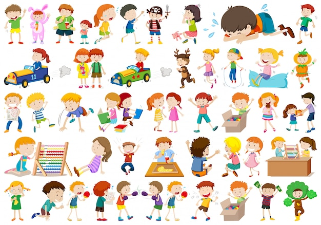 Grande gruppo di bambini Vettore gratuito