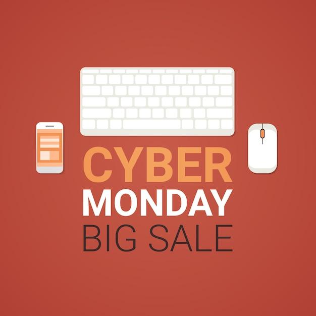 Grande insegna di vendita di lunedì cyber con lo smartphone del topo, della tastiera e delle cellule del computer, concetto dell'insegna di acquisto di tecnologia Vettore Premium