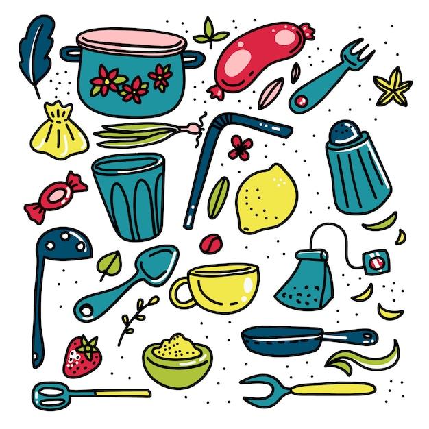 Grande insieme degli elementi della cucina del fumetto di scarabocchio Vettore Premium