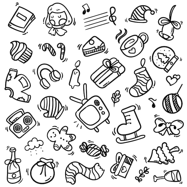 Grande insieme di elementi di capodanno con stile doodle Vettore Premium