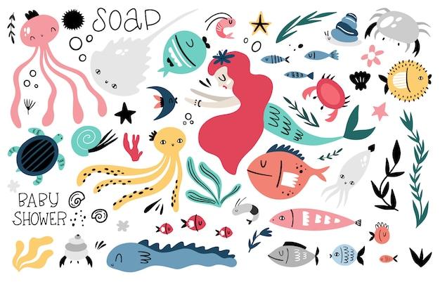 Grande insieme di vettore marino di elementi grafici per la progettazione dei bambini. stile doodle, disegnato a mano animali e piante marini, sirena, iscrizioni. Vettore Premium