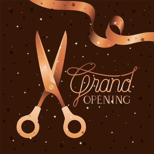 Grande messaggio di apertura con le forbici che tagliano nastro dorato Vettore Premium