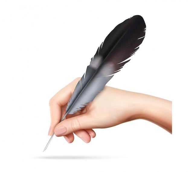 Grande piuma per la scrittura a disposizione sull'illustrazione realistica di vettore del fondo bianco Vettore gratuito