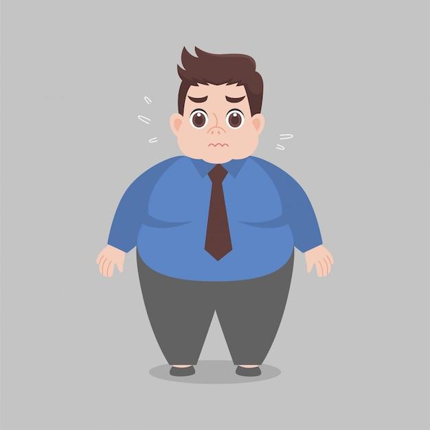 Grande preoccupazione lavoratrice grassa che indossa i vestiti da lavoro Vettore Premium