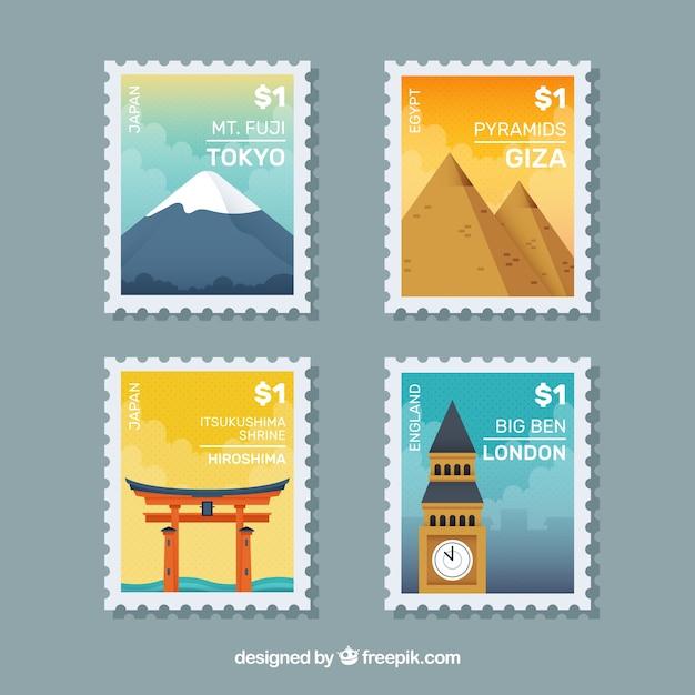 Grande serie di francobolli cittadini in design piatto Vettore gratuito