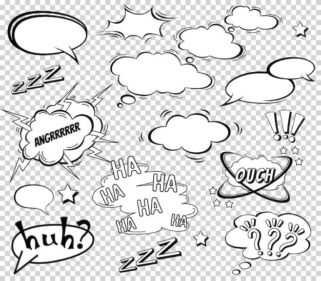 Grande set di cartoni animati, fumetti, nuvole vuote di dialogo in stile pop art Vettore Premium