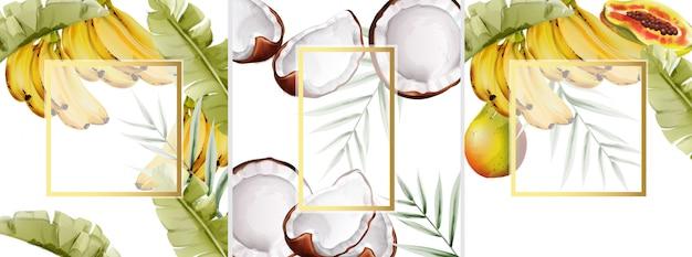 Grande set di composizione dell'acquerello con banane, pera e cocco Vettore Premium