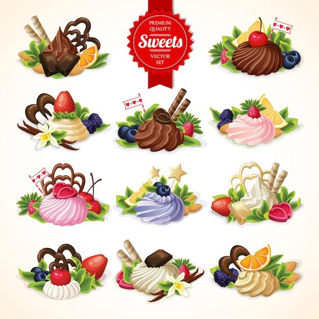 Grande set di dolci Vettore gratuito