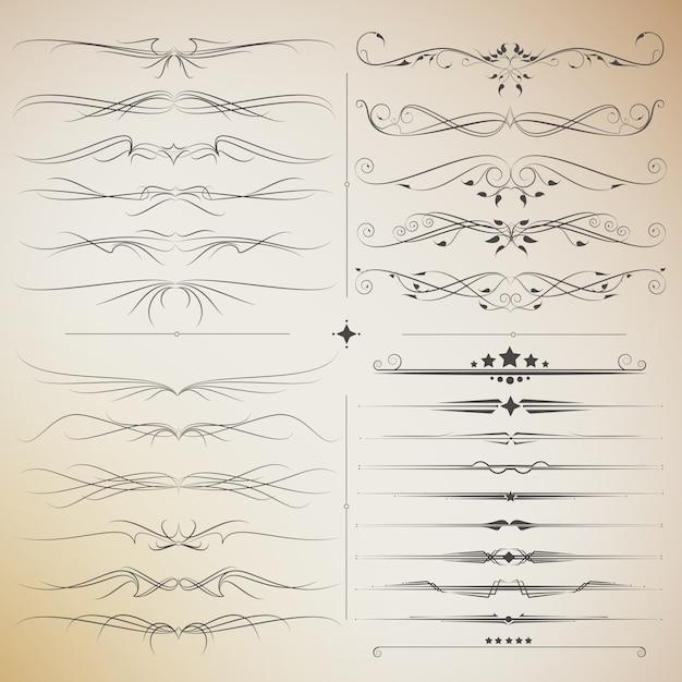 Grande set di elementi calligrafici in filigrana per il design. vettore di stile moderno e vintage Vettore Premium