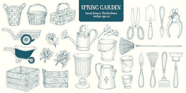 Grande set di elementi del giardino schizzo disegnato a mano. strumenti da giardinaggio. incidere illustrazioni vintage di stile. Vettore Premium