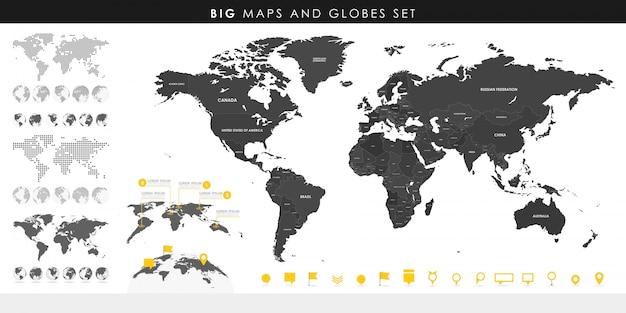 Grande set di mappe dettagliate e globi. Vettore Premium