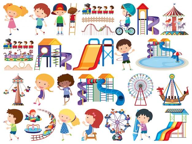 Grande set di oggetti isolati di bambini e circo Vettore Premium