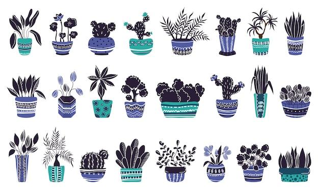 Grande set di piante in vaso o fiori in vaso Vettore Premium