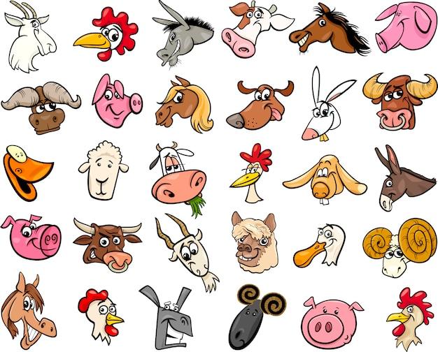 Grande set di teste cartone animato animali della