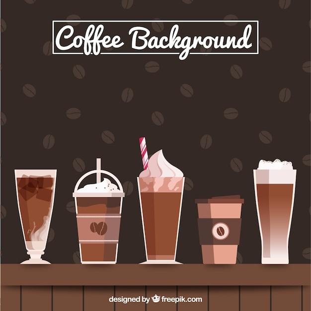 Grande sfondo con diversi tipi di caff scaricare vettori gratis - Diversi tipi di figa ...