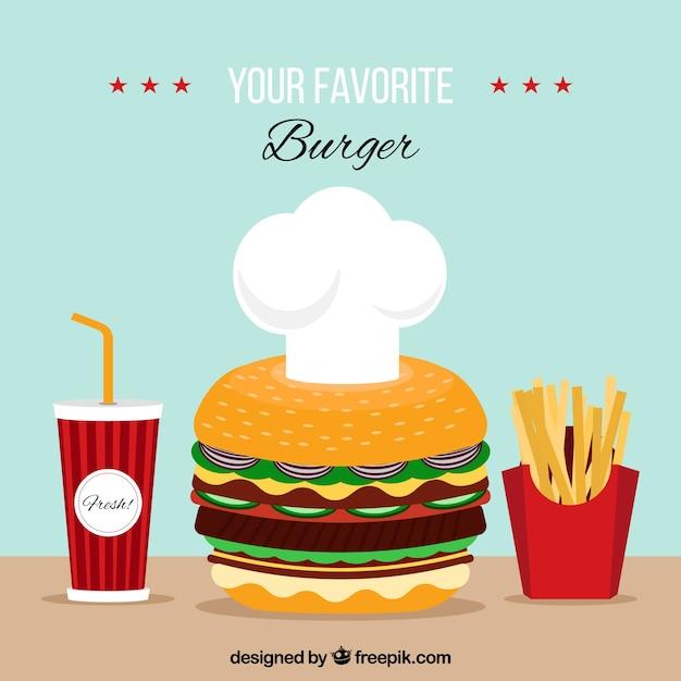 Grande sfondo con hamburger, bevande e patatine fritte Vettore gratuito