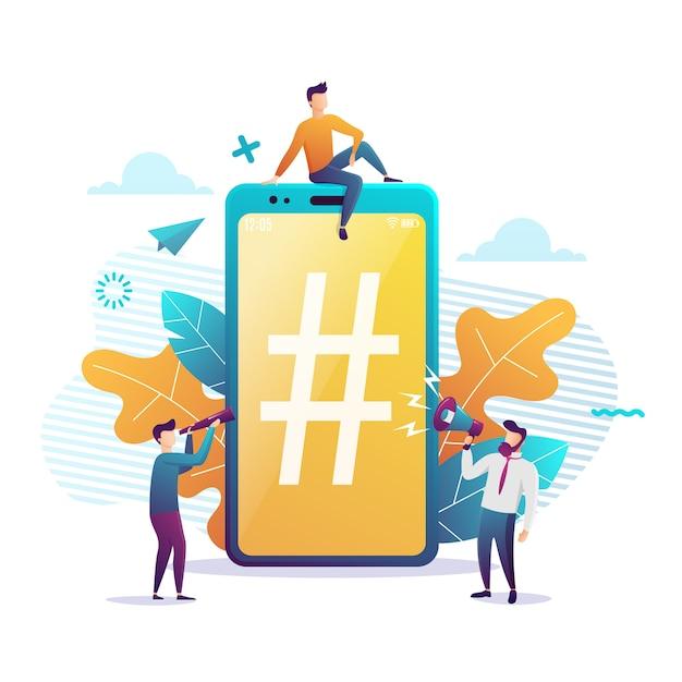 Grande smartphone con segno di hashtag, piccole persone e social network. illustrazione. stile piatto colorato Vettore Premium