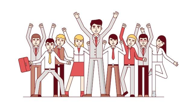 Grande squadra di affari che celebra enorme successo Vettore gratuito