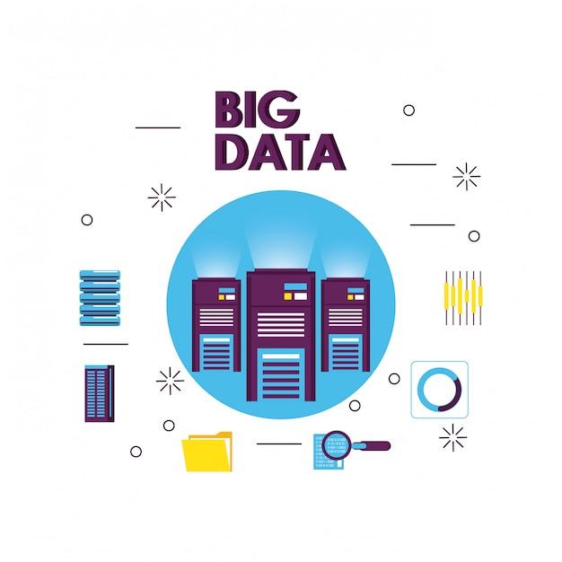 Grande tecnologia dei dati Vettore Premium
