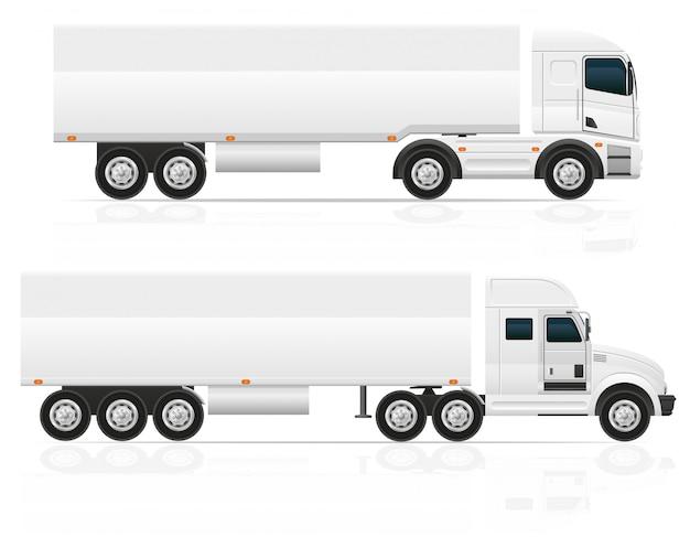 Grande trattore per camion in bianco per l'illustrazione di vettore del carico del trasporto Vettore Premium