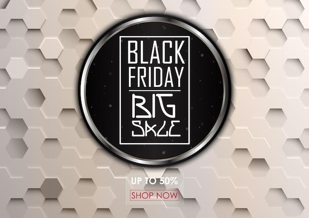 Grande vendita del black friday con sfondo esagonale Vettore Premium