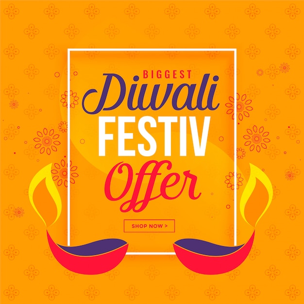 Grande vendita di diwali e offerta di sfondo con diya Vettore gratuito