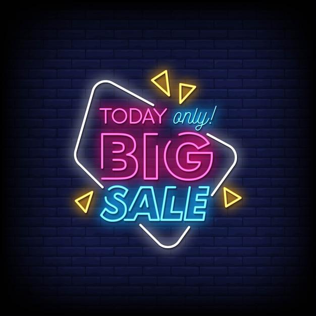 Grande vendita di insegne al neon in stile testo Vettore Premium