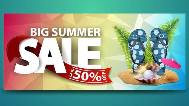 Grande vendita estiva, banner web sconto orizzontale per il tuo sito web Vettore Premium