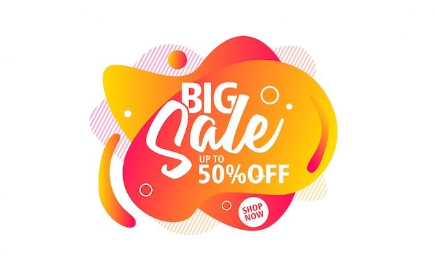 Grande vendita speciale poster design di offerta su forma liquida per la promozione Vettore Premium