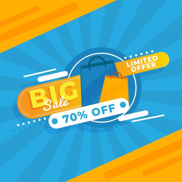 Grande vettore blu giallo premium premium banner banner di promozione Vettore Premium