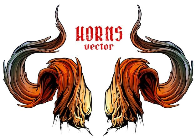 Grande vettore di corna di toro tagliente del fumetto Vettore Premium