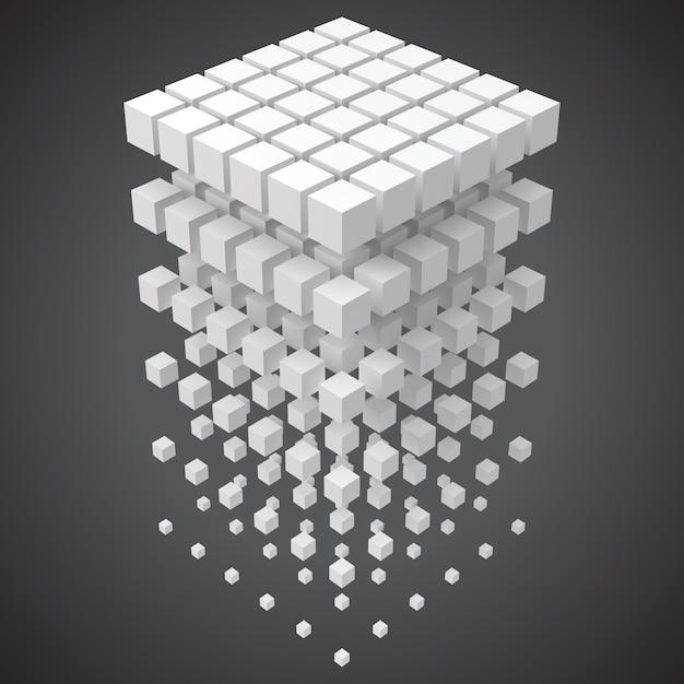 Grandi dati, blockchain e concetto di tecnologia con i cubi in 3d Vettore Premium
