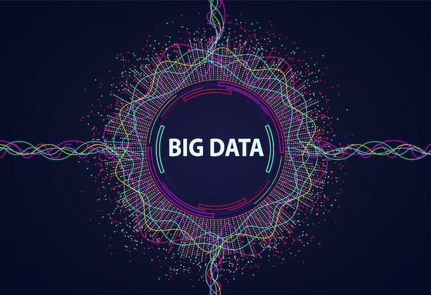 Grandi dati flusso di informazioni visive da punti e linee. Vettore Premium