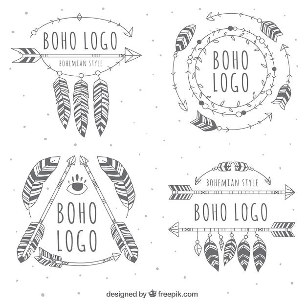 Grandi loghi boho con varietà di disegni Vettore gratuito