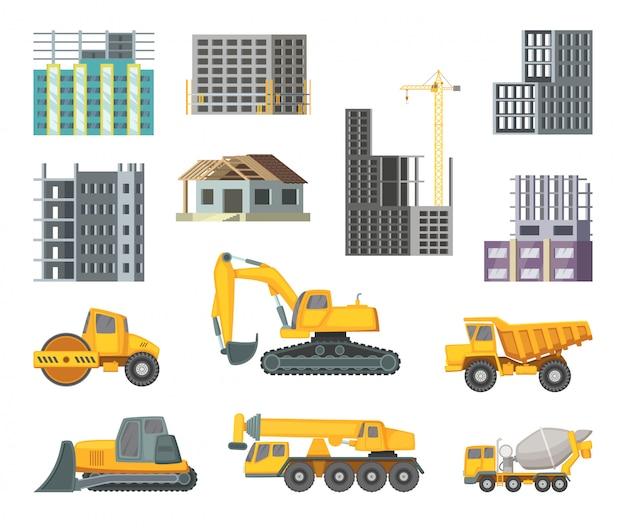Grandi macchine gialle pesanti e moderni edifici in fase di costruzione. Vettore Premium