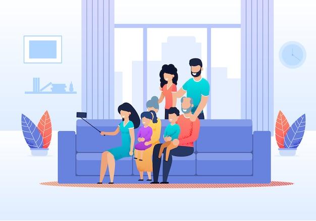 Grandi membri della famiglia riuniti per fare selfie Vettore Premium