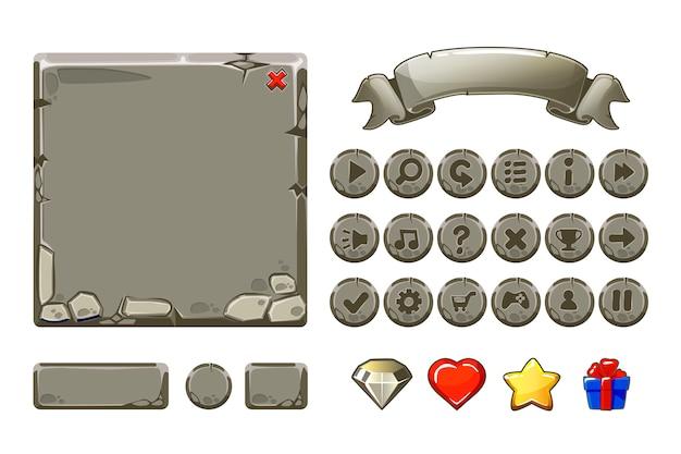 Grandi set cartone animato risorse di pietra grigia e pulsanti per ui game, icone della gui Vettore Premium