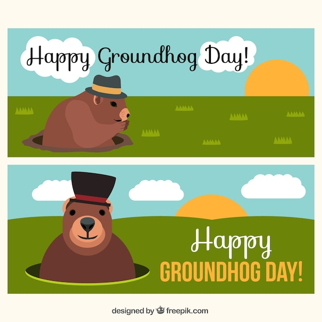Grandi striscioni per groundhog day Vettore gratuito