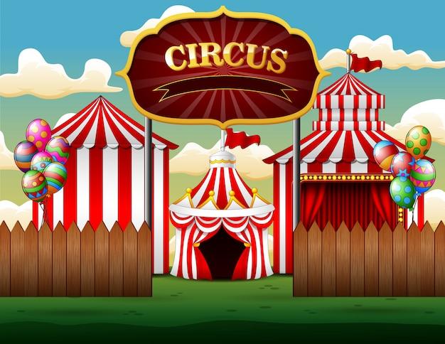 Grandi tendoni da circo con sfondo bianco e rosso Vettore Premium