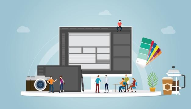 Graphic design e concept designer con persone del team e alcuni strumenti come pen tablet pantone e computer Vettore Premium
