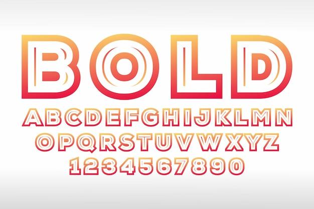 Grassetto display 3d design dei caratteri, alfabeto, lettere Vettore Premium