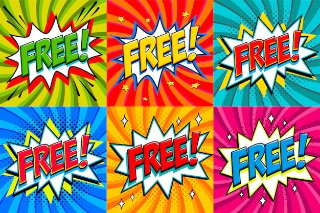 Gratuito - adesivi in stile fumetto. banner gratuiti in stile fumetto pop art. Vettore Premium