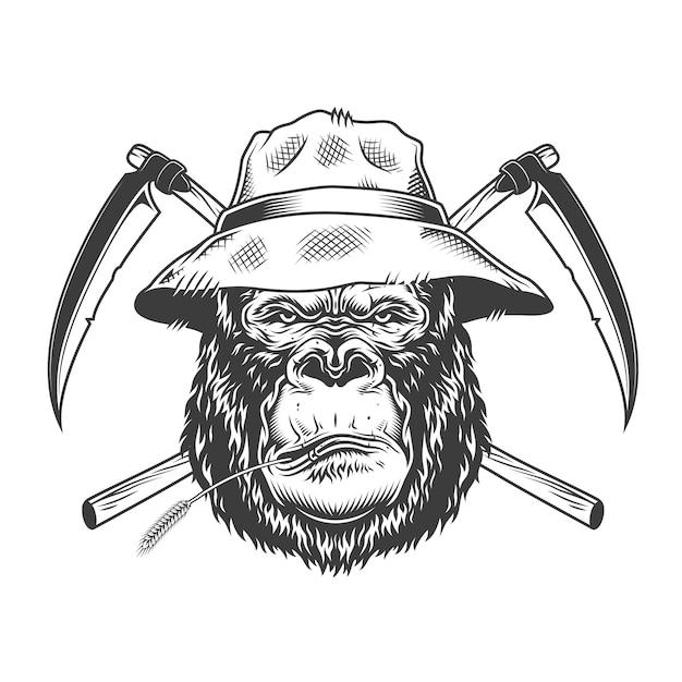 Grave testa di gorilla in cappello panama Vettore gratuito