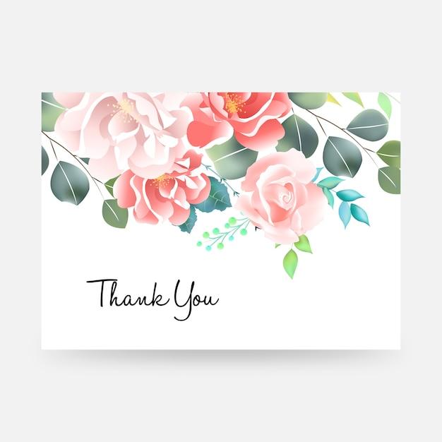 Grazie cardare con scritte e fiori. Vettore Premium