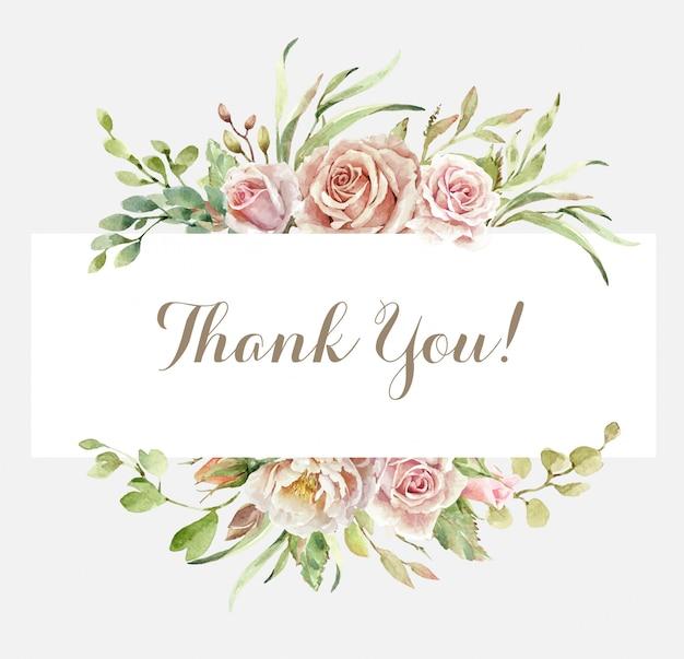 Grazie carta con bouquet rosa acquerello Vettore Premium