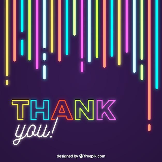 Grazie composizione con luce al neon Vettore gratuito
