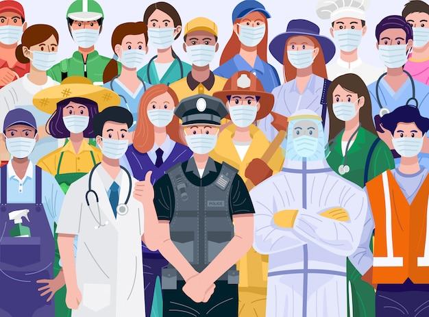 Grazie concetto essenziale dei lavoratori. varie professioni persone che indossano maschere per il viso. vettore Vettore Premium
