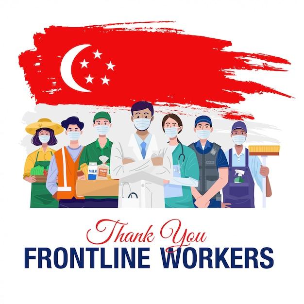Grazie lavoratori in prima linea. varie persone di professioni che stanno con la bandiera di singapore. vettore Vettore Premium