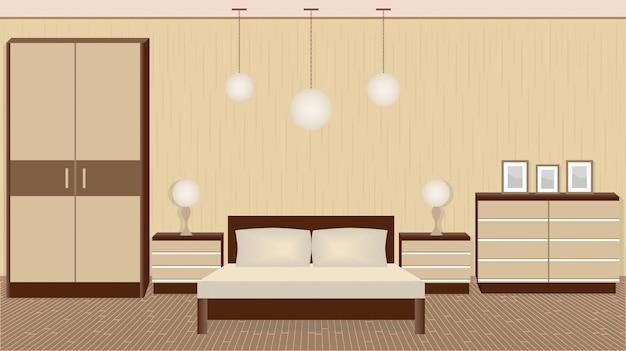 Grazioso interno camera da letto in colori caldi con mobili, lampade, cornici per foto Vettore Premium