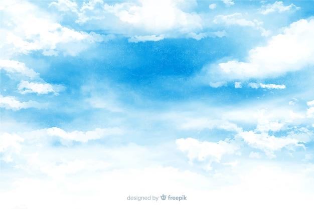 Grazioso sfondo di nuvole ad acquerello Vettore gratuito